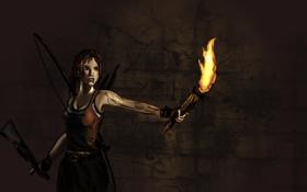 Обои девушка, факел, Tomb Raider, пещера, лара крофт