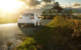 Обои Desktop, Mitsubishi, Lancer, white, Evolution, Автомобиль, Beautiful