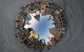Картинка город, круг, площадь, народ