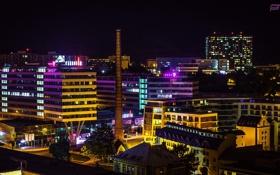 Обои небо, ночь, город, огни, труба, photographer, Josef Kadela
