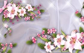 Картинка лилии, арт, ткань