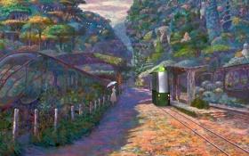 Обои деревья, цветы, рельсы, картина, станция, аниме, мальчик