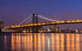 Обои вода, город, отражение, здания, Нью-Йорк, небоскребы, вечер