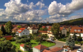 Обои небо, облака, город, фото, дома, Германия, Bad Mergentheim