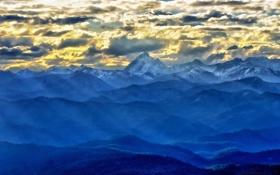 Обои облака, горы, вид, пик, гряда