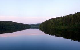Обои небо, вода, озеро, гладь, река, фото, обои