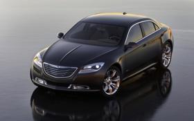 Обои Авто, Черный, Chrysler, Капот, Крайслер, Фары, 200