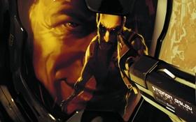 Обои пистолет, лицо, deus ex, human revolution, отражение, скафандр, адам дженсен