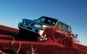 Обои песок, nissan, джип, внедорожник, patrol, Nissan patrol