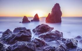 Картинка закат, океан, скалы, California, Rodeo Beach, Marin Headlands