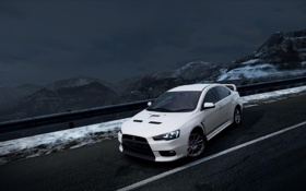 Картинка горы, ночь, ракурс, need for speed hot pursuit, Mitsubishi Lancer Evolution X