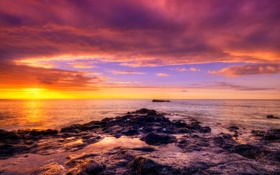 Обои закат, камни, африка, океан
