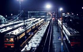Обои ночь, вокзал, поезда, Владимир Смит, Vladimir Smith, Калуга-1