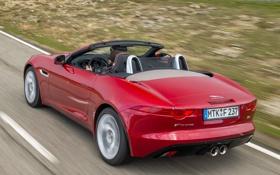Картинка авто, красный, Jaguar, кабриолет, задок, F-Type