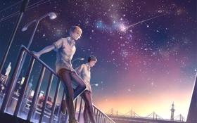 Картинка звезды, фонари, Kuroko no Basket, ночь, город, парни, Hyuuga Junpei