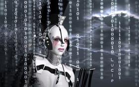 Обои рендеринг, робот, числа