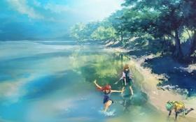Картинка деревья, радость, озеро, девушки, арт