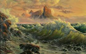 Обои фантазия, Репродукция, волна, море