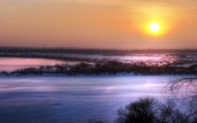Обои зима, поле, закат