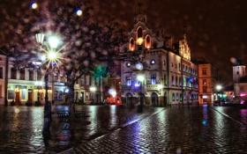 Картинка ночь, огни, блики, дерево, улица, дома, Польша