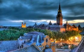 Обои дома, красота, площадь, церковь, собор, фонтан, Сербия