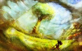 Обои поле, трава, девушка, пейзаж, горы, дерево, сзади