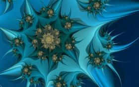Обои цветок, синий, фон, фрактал