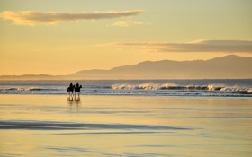 Обои море, пейзаж, всадники, Australia, Victoria, Waratah Bay