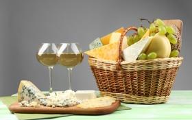 Картинка вино, корзина, сыр, винград