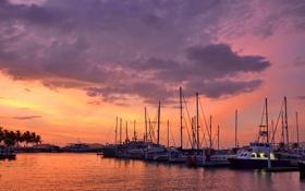 Картинка море, рассвет, лодки, гавань
