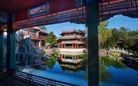 Картинка water, style, Oriental buildings, decoration