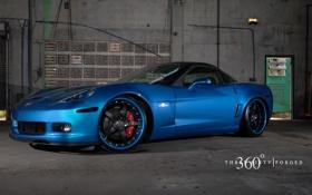 Картинка Corvette, Z06, blue, 360 three sixty forged, Chevrolet