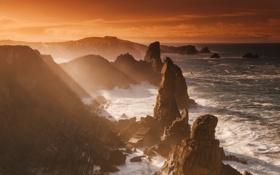 Картинка волны, свет, океан, скалы, берег, Австралия