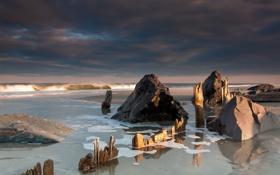Обои лучи, природа, камни, океан, берег, побережье, волна