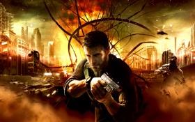 Картинка город, пистолет, оружие, splinter cell conviction, sam fisher, сэм фишер