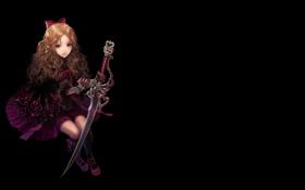 Картинка девушка, темный фон, меч, платье, бант, agasang