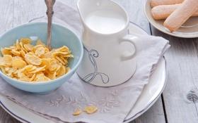 Картинка хлопья, тарелка, кукурузные, печенье, молоко, завтрак, ложка