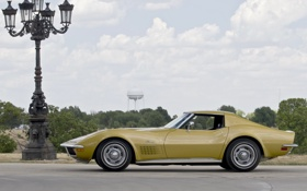Обои столб, Corvette, Chevrolet, фонарь, шевроле, вид сбоку, 1970