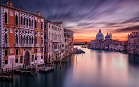 Картинка небо, вода, город, дома, утро, выдержка, Италия