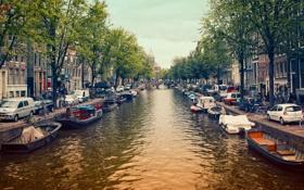 Обои река, здания, трамвай, Nederland, канал, Нидерланды, амстердам