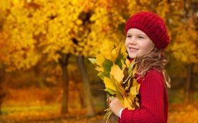 Обои осень, локоны, листья, сероглазая, улыбка, деревья, берет