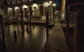 Обои вода, ночь, улица, фонарь, Венеция