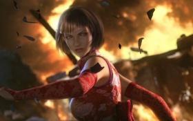 Обои взгляд, девушка, взрыв, осколки, игра, Tekken 6, Anna Williams