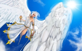 Обои жезл, ангел, девушка, арт, крылья, меч