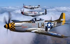 Картинка небо, облака, полет, ретро, самолет, истребитель, пилот