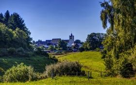 Обои трава, деревья, город, фото, забор, Германия, Lutzerat