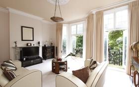 Обои дизайн, вилла, жилая комната, дом, Albert Bridge, London, интерьер