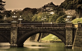 Картинка небо, деревья, мост, река, китай, фонари, china