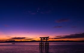 Обои пейзаж, рассвет, океан, Тории, Ицукусима, Япония, арка