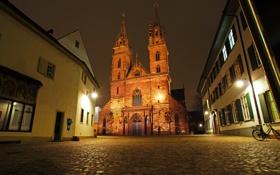 Картинка ночь, огни, улица, часы, дома, Швейцария, фонари